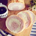 紫芋パウダーで渦巻きラウンドパン。と、二歳児歯科検診。