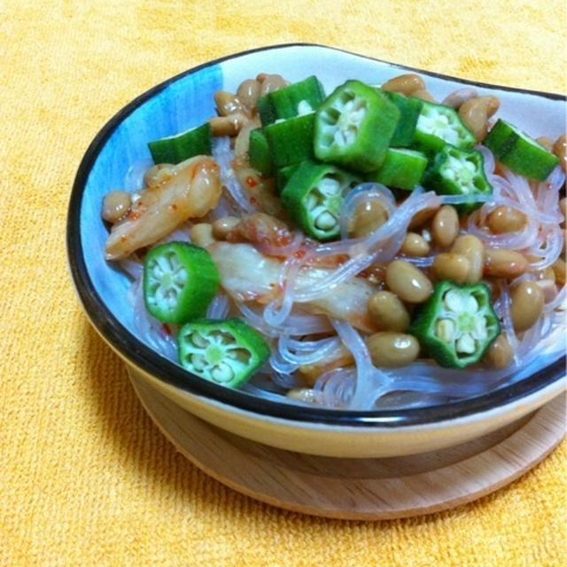 納豆とキムチの春雨サラダ♪