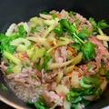 ビビンバの素を使って牛肉とセロリの炒め物(レシピ)