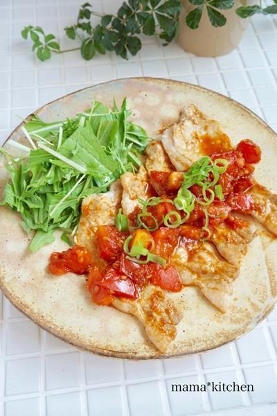 ジューシー!豚トマトの生姜焼き*30cmも切りました!