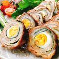 うずらの卵と大葉のにんにく醤油豚肉ロール