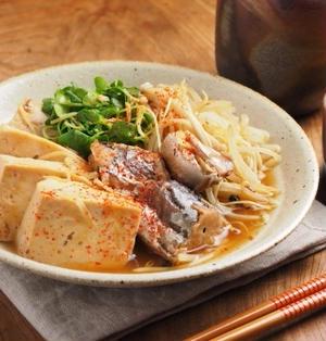 鯖水煮缶で「さば豆腐」