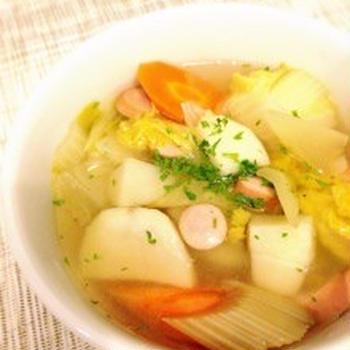 野菜たっぷりシンプル絶品コンソメスープ