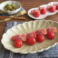 トースターで簡単調理◎オリーブのベーコン巻きとミニトマト焼き