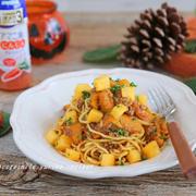 柿とかぼちゃのミートソーススパゲティ