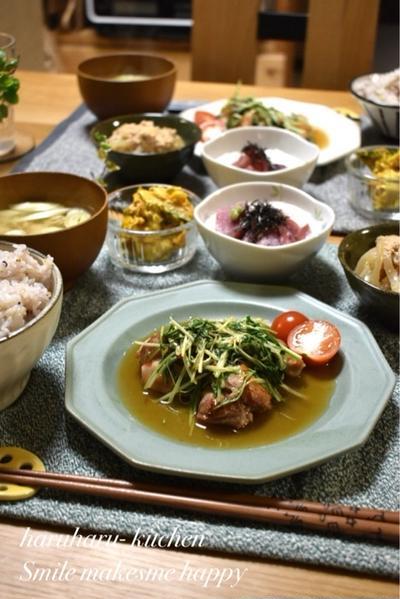 【レシピ】鶏肉と水菜のチリポン炒め✳︎大好物3品並んだ晩ごはんと朝ごはん。