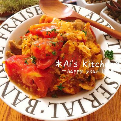 夏レシピ♡リコピンたっぷり美意識高い女子必見*豚肉とトマトの中華風玉子とじ♡
