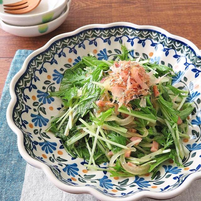 簡単☆さっぱり♪水菜とたまねぎの和風サラダ【#シャウベーコロン】