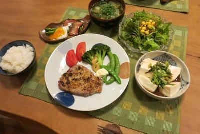 豚テキ~マスタード風味の晩ご飯 と 家庭菜園♪