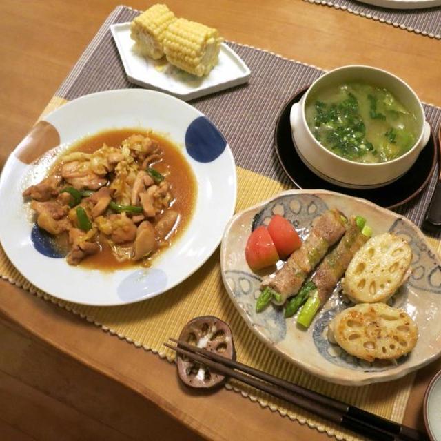 """""""鶏ちゃん風""""鶏肉とキャベツの炒め物の晩ご飯 と さといもみたいな葉っぱ♪"""