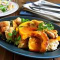 トースターで簡単♪チキンとかぼちゃのオイマヨグリルとミックスサラダのごはん