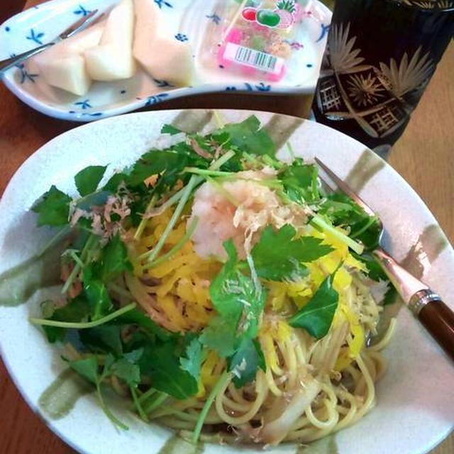 たくあんと白葱と三つ葉の和風スパゲッティ ~ 大根おろしのせ