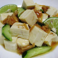 豆腐ときゅうりのなめ茸ポン酢和え<さっぱり♪>