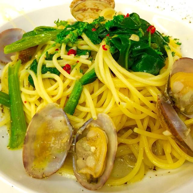 小松菜とアサリのボンゴレ・ビアンコ