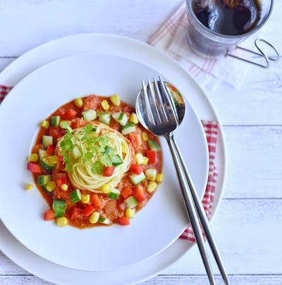ツナとトマトの冷製スープスパゲティ