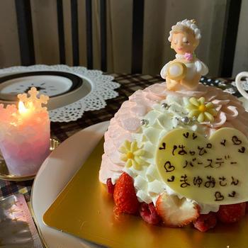 可愛いケーキでお祝い
