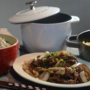 ストウブブレイザーで「ゴーヤチャンプル」と牛肉と玉葱の炒め物