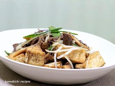 焼き豆腐と牛肉のスタミナ炒め&「やっぱり焼き鳥は美味しいなぁ・・・」