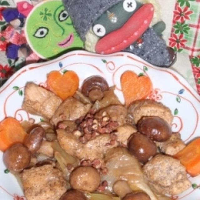 鶏肉とマッシュルームの烏龍茶煮&大根の塩麹干し海老煮(お家カフェ)