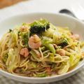 キャベツとベーコンのスープパスタ、フライパン1つで簡単レシピ