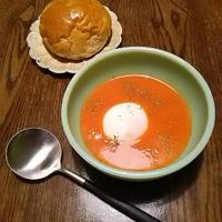 48種の濃い野菜ジュースと温泉卵で、食べ応えある簡単スープを