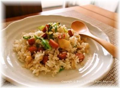 キャベツとウインナーのペペロンご飯