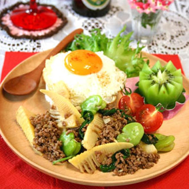 筍と空豆のタイ風ひき肉バジル炒め☆