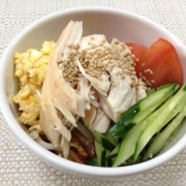 (レシピ)塩鶏を使ってサラダうどん♪