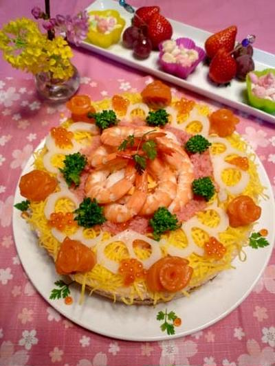 鰻たっぷり寿司ケーキ!サーモン薔薇入り!!