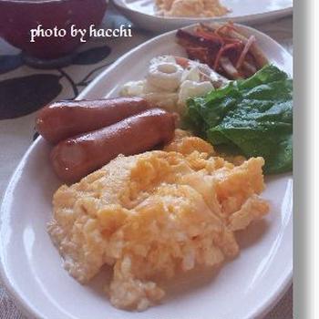 卵豆腐入り卵焼きの朝ごはん