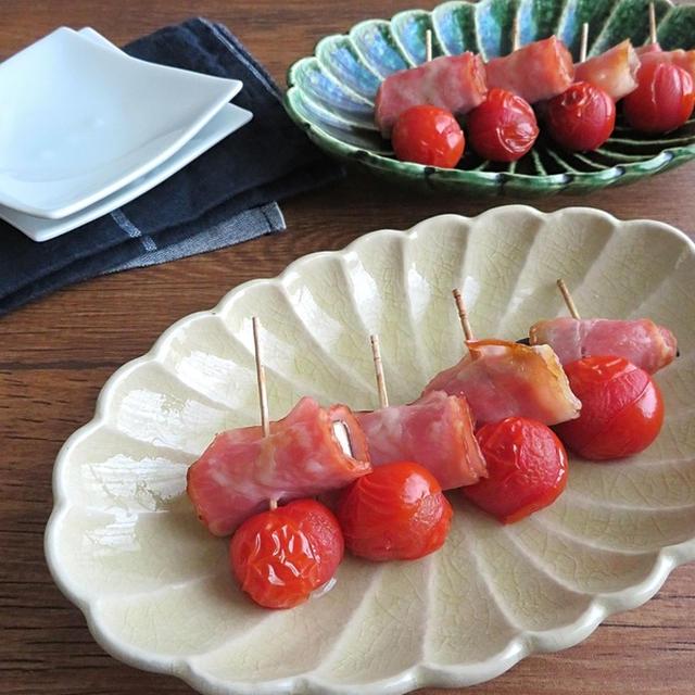 ピックスタイルで食べやすく◎なすのベーコン巻きとミニトマト焼き