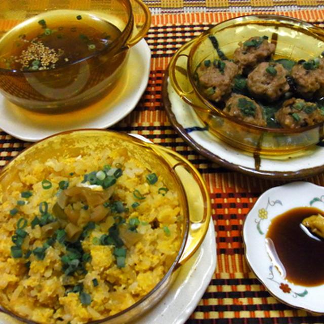 3品同時中華ランチ♪ ザーサイ炒飯・皮なし焼売・即席中華スープ♪