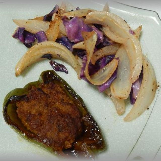 紫キャベツと玉ねぎのマヨ炒め~大人色
