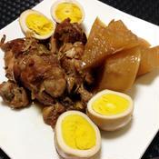 鶏手羽元と大根とゆで卵の圧力鍋で黒酢煮込み
