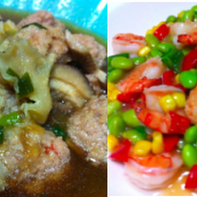 肉団子のおろし煮、海老と枝豆炒め、ハムとモヤシとキューリ