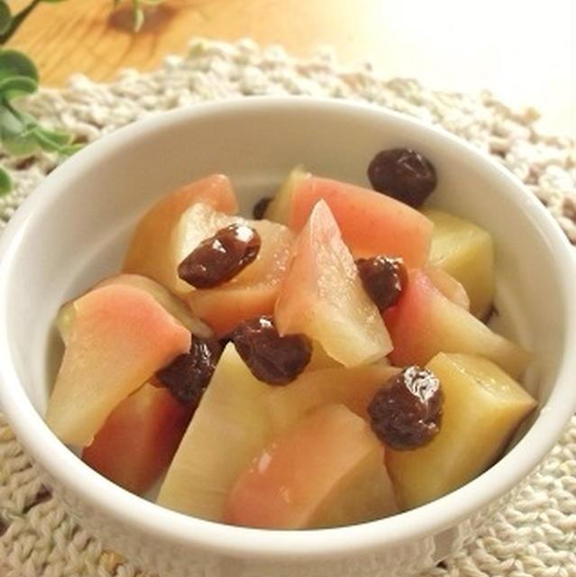 レンジで 薩摩芋とリンゴとレーズンの重ね煮