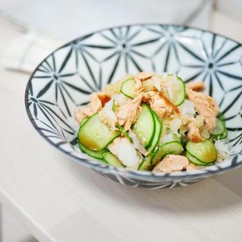 《レシピ》焼き鮭ときゅうりのおろしポン酢和え