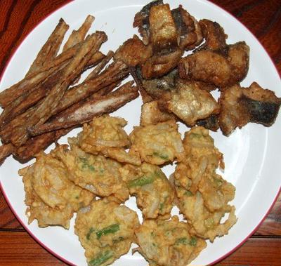 鯖と牛蒡の竜田揚げ&鶏ミンチのかき揚げ