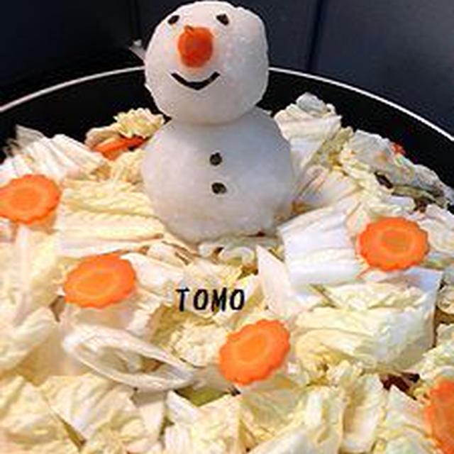 深フライパン de 白菜と豚肉の蒸し煮〜雪だるま付き〜