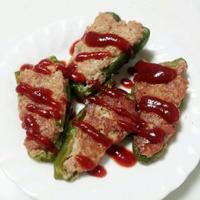 ブルドックうまソースでピーマンの肉詰め(^'^)
