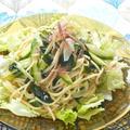サッパリ食べたい梅雨時にシャキシャキレタスとワカメと香味野菜のサラダスパゲティ。 by akkiさん