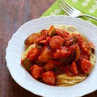 【スパイス大使】トリプルの旨味で食欲増進♡ラタトゥイユとソーセージのピリ辛トマトパスタ