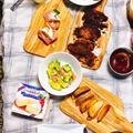 母に振る舞うホムパ第8弾 ♪(アボカドでディップとごま油和え、ブルスケッタ、ポテト、ビフカツ、