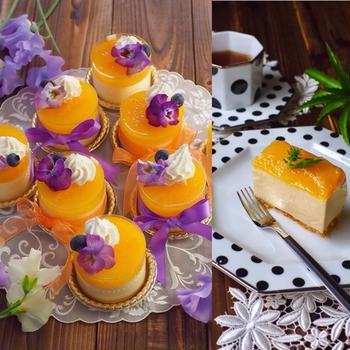 マンゴーとオレンジのレアチーズケーキと、ロールサンドとコッペパンサンド