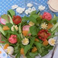 ヨーグルトドレッシングで♪ 春のお花畑サラダ