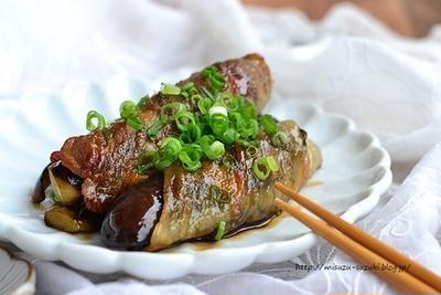 【昆布村レシピ】豚バラなすと昆布巻きの照り焼き