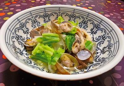 アサリと春野菜の蒸し煮