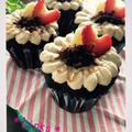 誕生日だけど。チョコバナナキャラメルホイップのカップケーキ♪