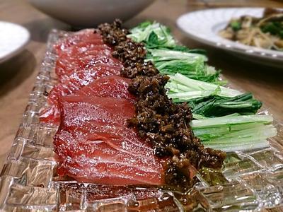 鰹と水菜のタプナードソース
