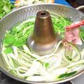 ズッキーニと豚肉のしゃぶしゃぶ【ぐんまクッキングアンバサダー】材料少なく、ぽん酢ともごまだれとも合う簡単おつまみ。